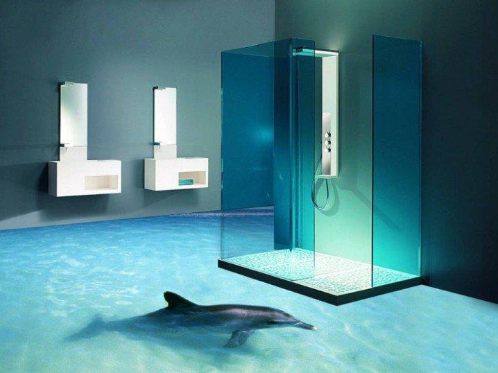 Наливные полы 3d в ванной