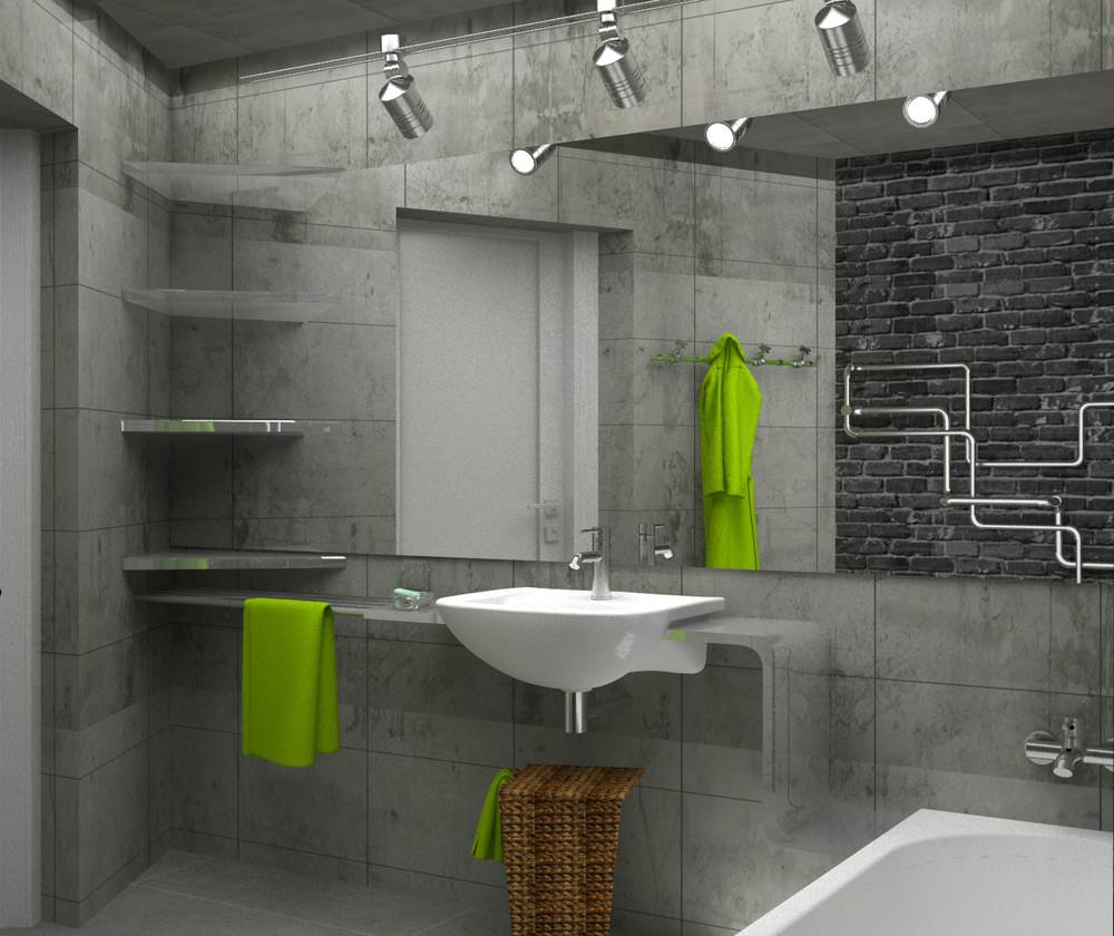 Полочки на бетонной стене, ванная комната в стиле лофт