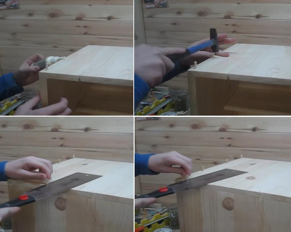 Скрепление деталей шкантами и клеем