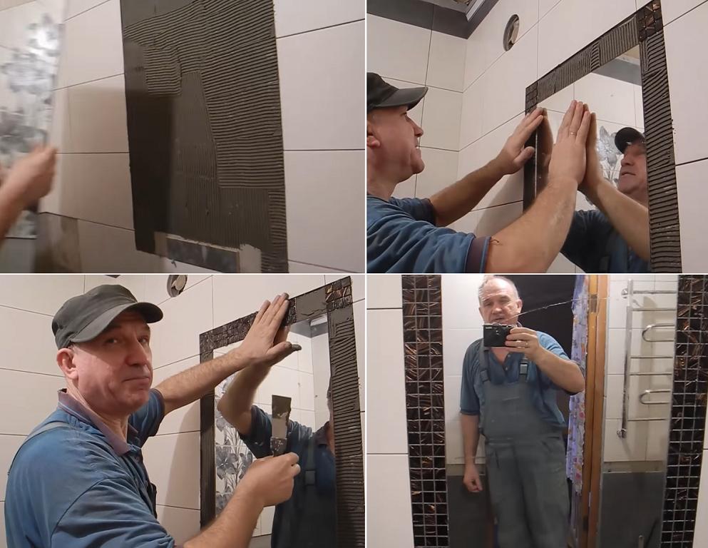На фото показано, как приклеить зеркало одновременно с укладкой плитки