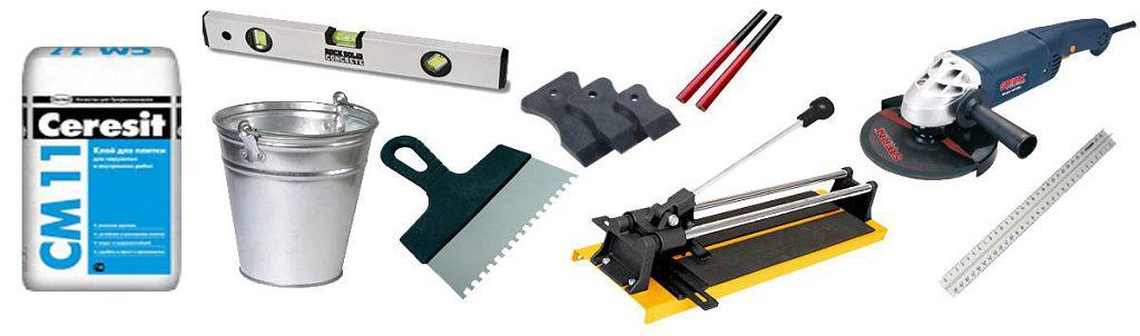 Некоторые из основных инструментов для укладки кафельной плитки