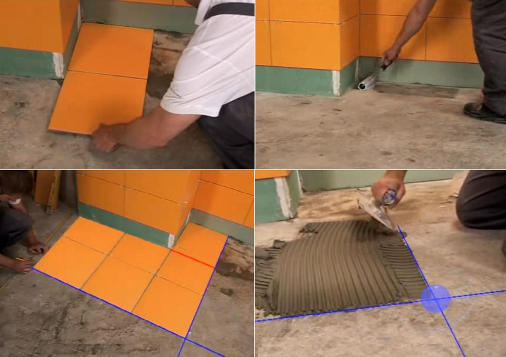 Разложите плитку на полу, сделайте разметку.Нанесите грунт и клей