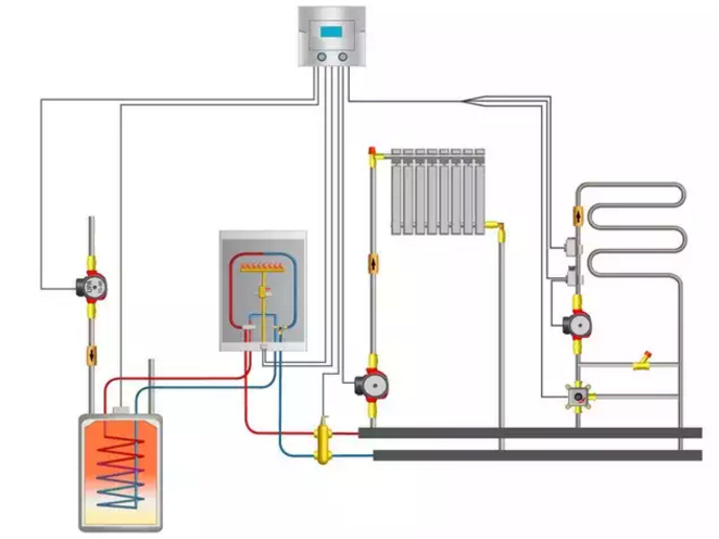 Схема расположения полотенцесушителя в системе с автономным отоплением