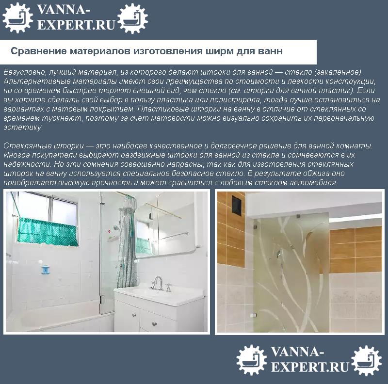 Сравнение материалов изготовления ширм для ванн