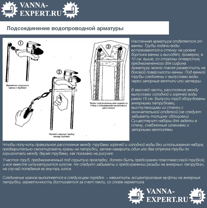 Подсоединение водопроводной арматуры