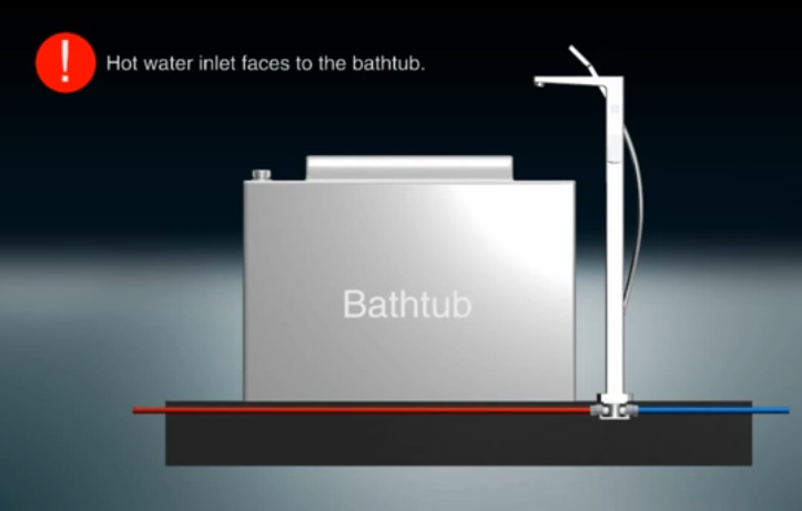 Трубопровод горячей воды должен располагаться под ванной