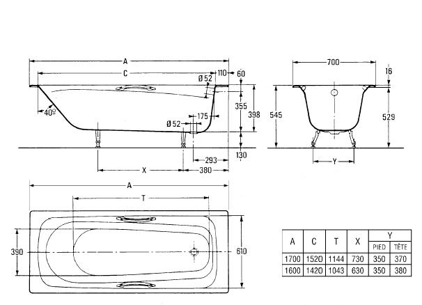 Чугунная ванна с ножками и ручками 170х70 см