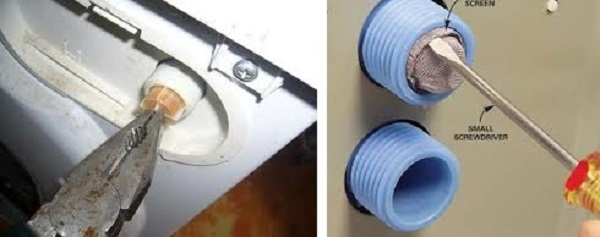 Фильтр может быть установлен в виде сеточки в шланге, либо в корпусе стиральной машинки