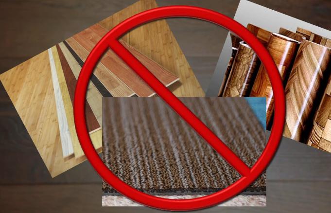 Ламинат, линолеум, ковролин не могут выступать основой для укладки ПВХ плитки. Демонтируйте эти покрытия заранее