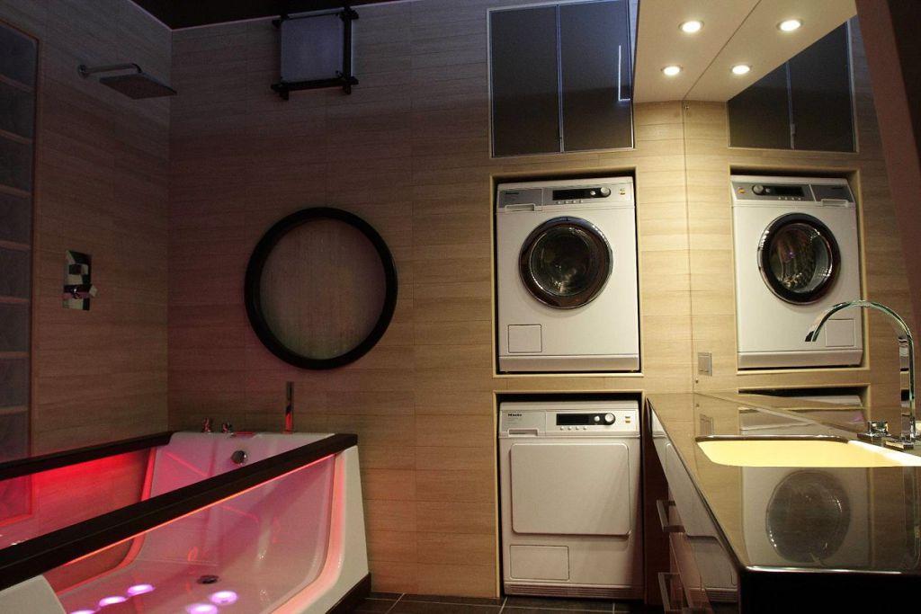 Один из вариантов размещения стиральной машины в ванной комнате