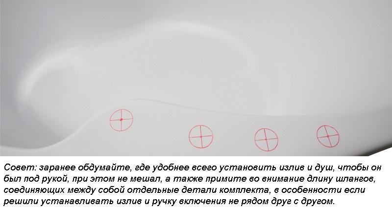 Определяем место расположения отверстий для монтажа деталей смесителя