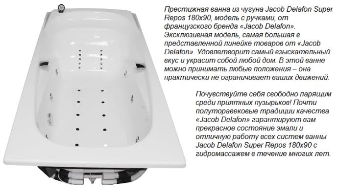 Престижная ванна из чугуна Jacob Delafon Super Repos 180x90