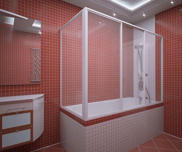 Ширма хорошо вписывается в оформление ванной комнаты