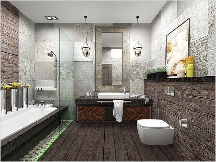 Светильники в интерьере ванной комнаты, стиль лофт