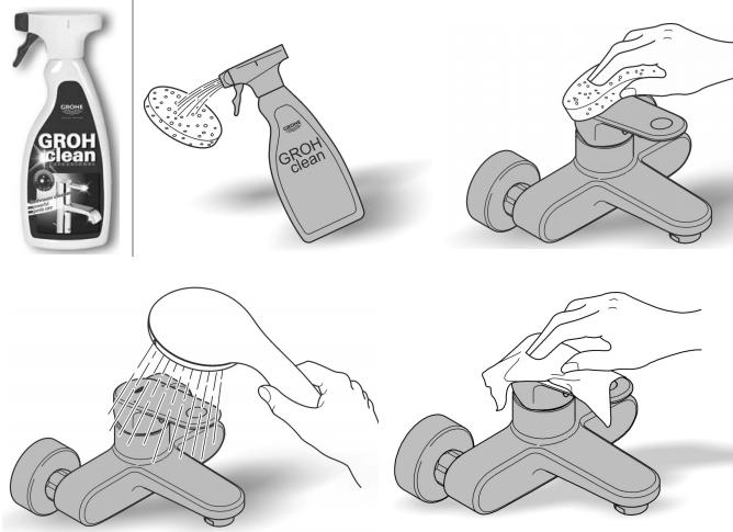 Удаляйте известковый налет со смесителя, используя специальное средство