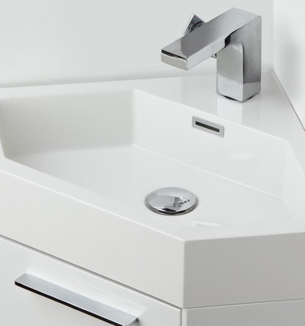 Угловая раковина с тумбой для ванной