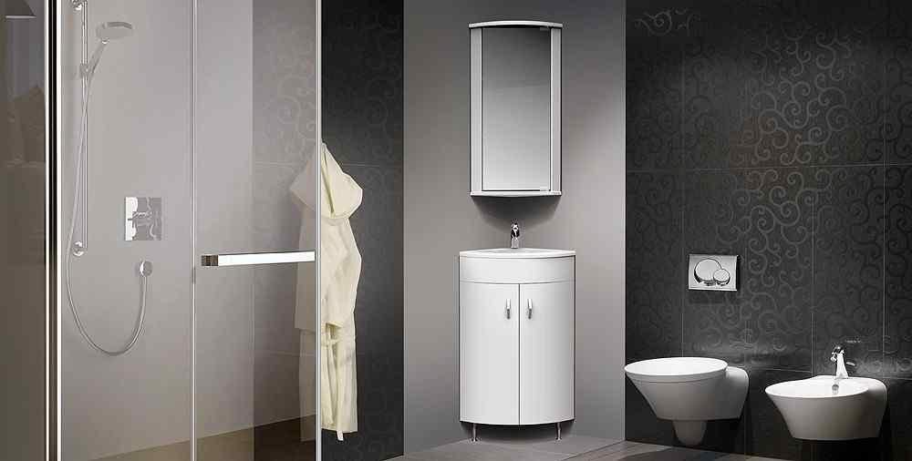 Угловая раковина встраиваемаяв интерьере ванной комнаты