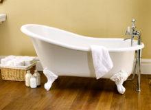 Ванна на ножках отдельно стоящая, напольный смеситель