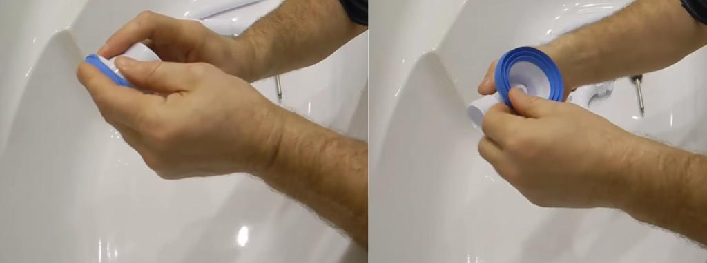 Установка уплотнителя на деталь сифона, которая крепится под сливное отверстие ванны