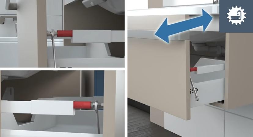 Отрегулируйте положение ящика по вертикали и его плотность закрывания
