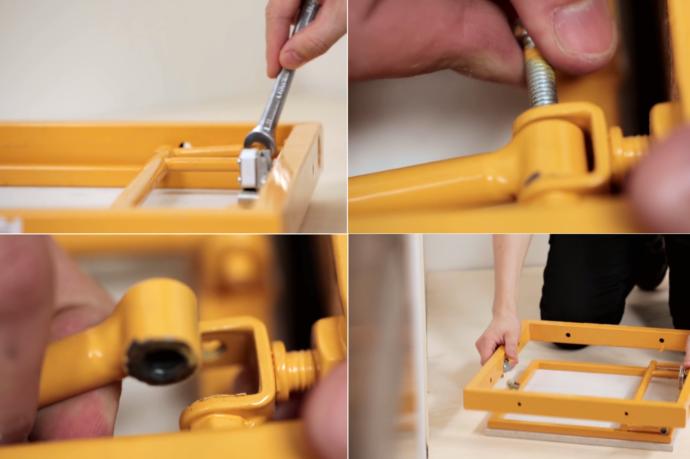 Для удобства монтажа можно отсоединить дверцу от рамы