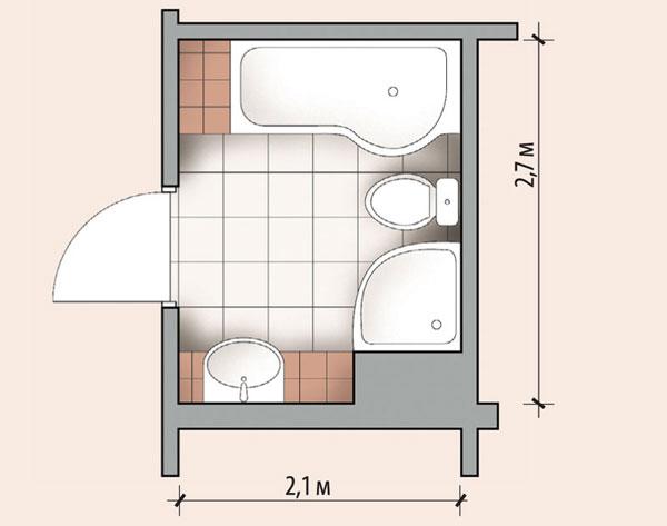 Планировка ванной комнаты с ванной и душевой кабиной (4,8 м²)