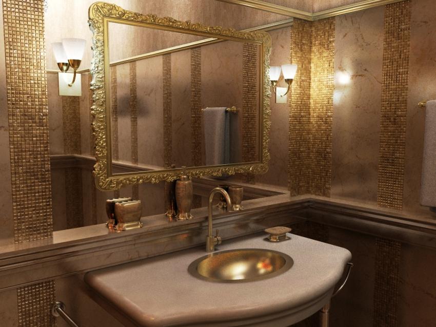 Прекрасное сочетание металлической чаши с оттенком мозаики на стенах