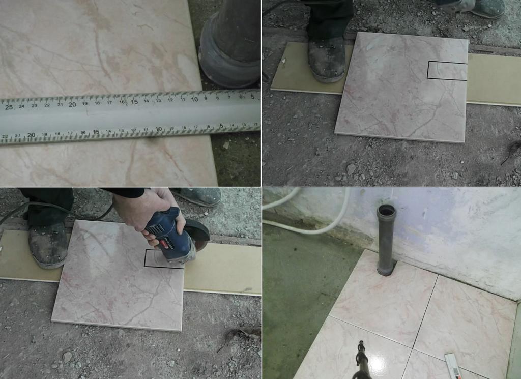 Укладка плитки на пол (без раствора, вокруг поддона). Подрезка плитки