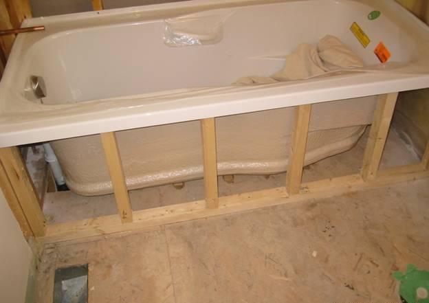Устанавливаем стойки под ванну