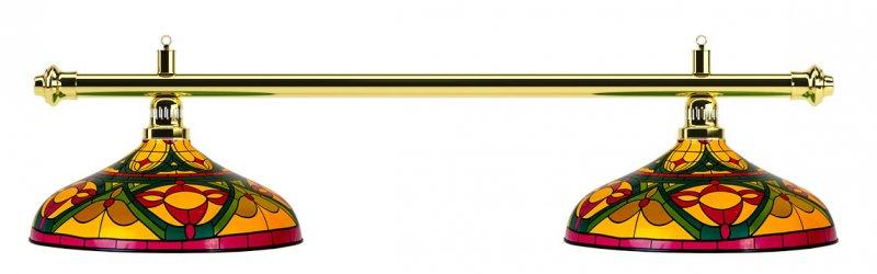 Лампа на два плафона «Colorful» (золотистая штанга, цветной плафон D44см)