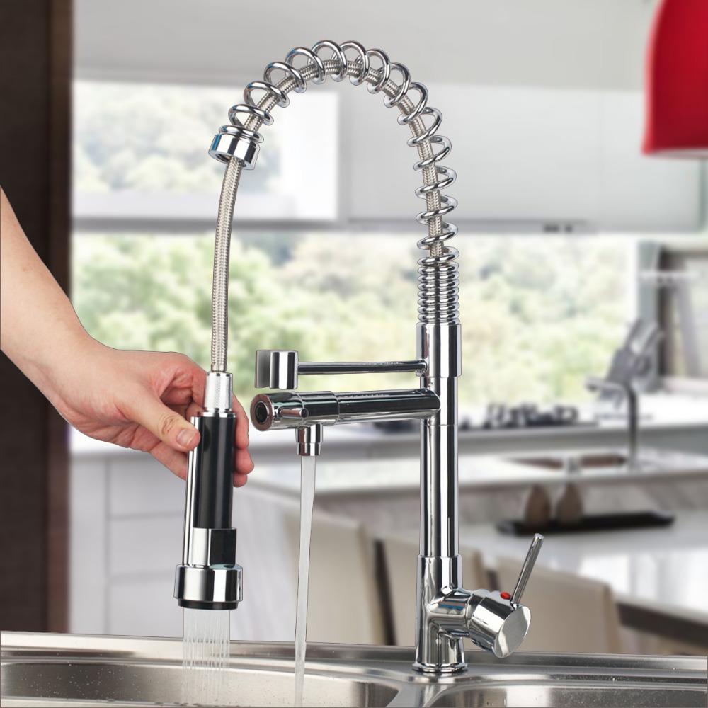 Смеситель для кухни с душем - фото