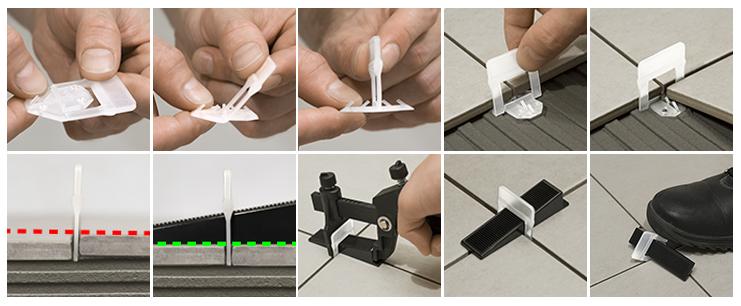Основа зажимает угол сразу у четырех плиток и позволяет сделать шов 1,5 мм без применения крестиков. Клинья можно использовать несколько раз