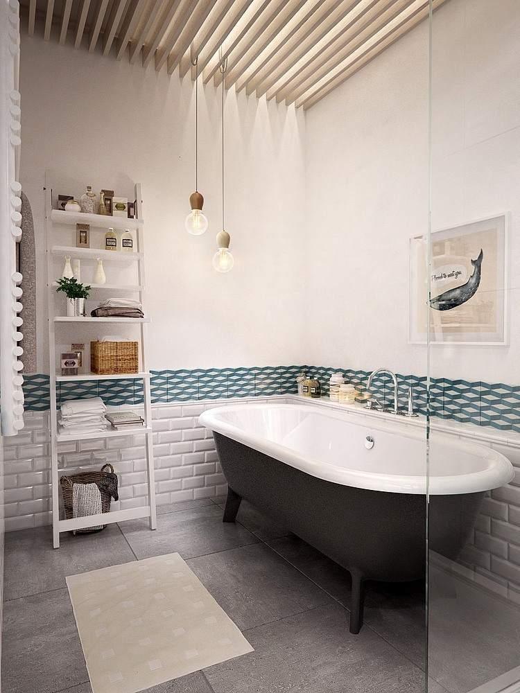 Еще один пример интерьера ванной комнаты в скандинавском стиле