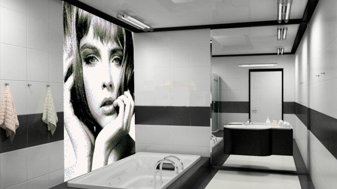 Панно из керамической плитки в ванной комнате