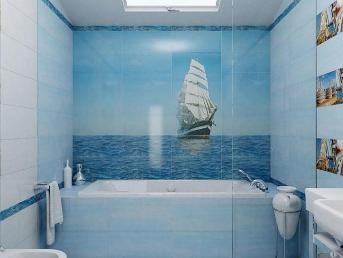 Панно с парусником для небольшой ванной комнаты