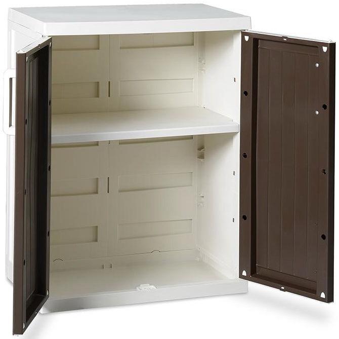 Пластиковый шкафчик в открытом виде