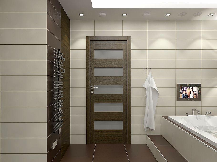 Пример двери из экошпона в ванной комнате