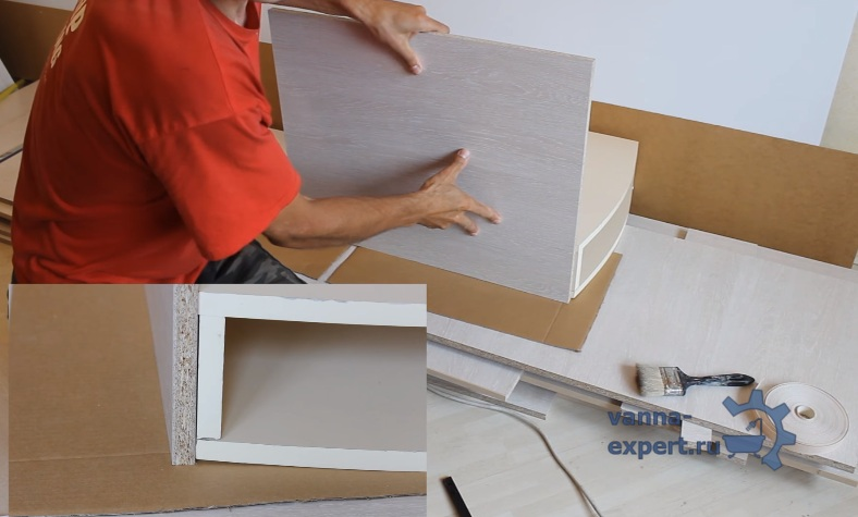 Ставим полку вплотную к ящику