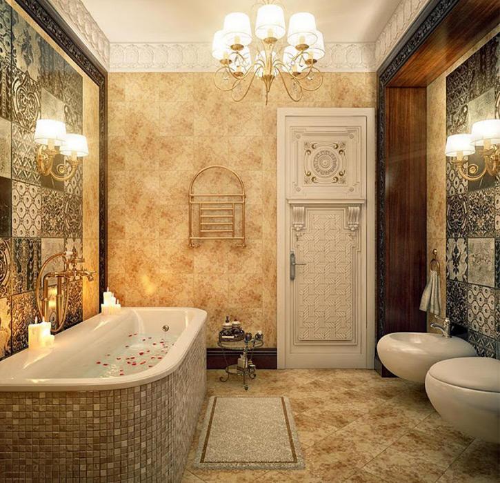 Ванная в классическом стиле в деревянном доме