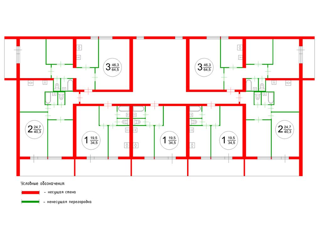 Типичный план этажа стандартного блочного дома