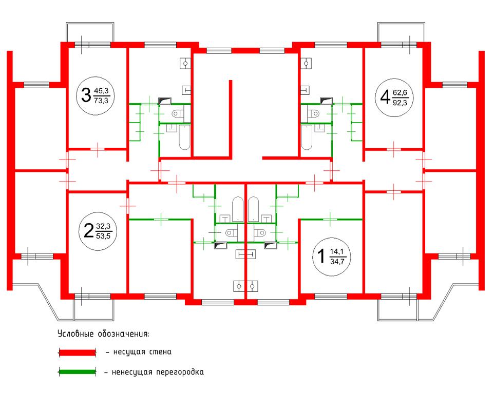 Типичный план этажа стандартного панельного дома