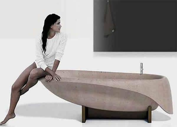 Бетонная ванна: стильный дизайн
