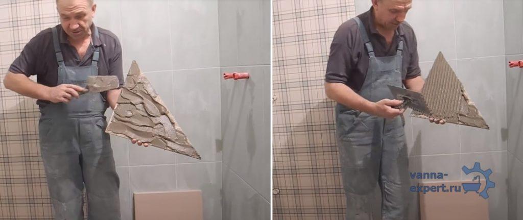 Как наносить клей на плитку