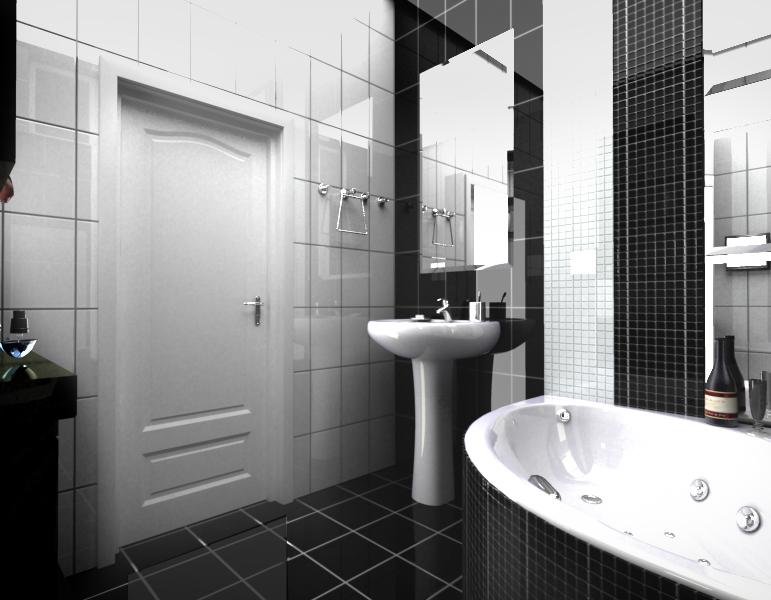 Черно-белая ванная комната. Яркий контраст