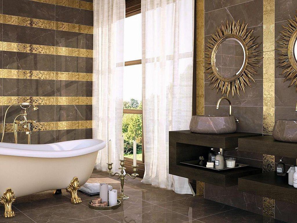 В ванной в стиле французского барокко центральное место занимает отдельно стоящая ванна на массивных львиных лапах