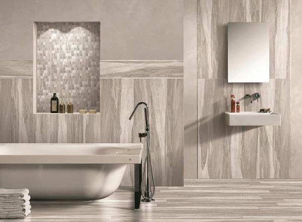 Напольная или настенная плитка с имитацией дерева станет отличным решением для ванной комнаты в африканском или эко-стиле